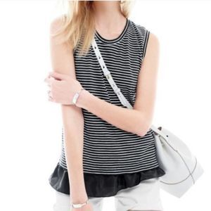 J. Crew black white stripe sleeveless ruffle hem